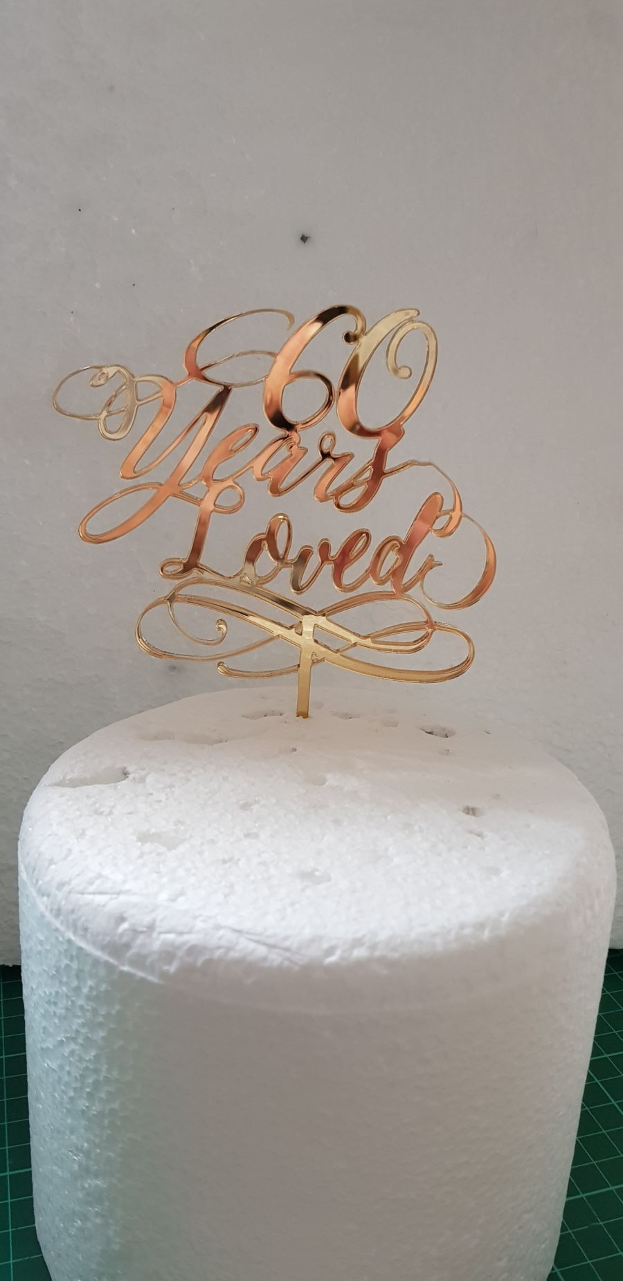 60 Years loved acrylic cake topper