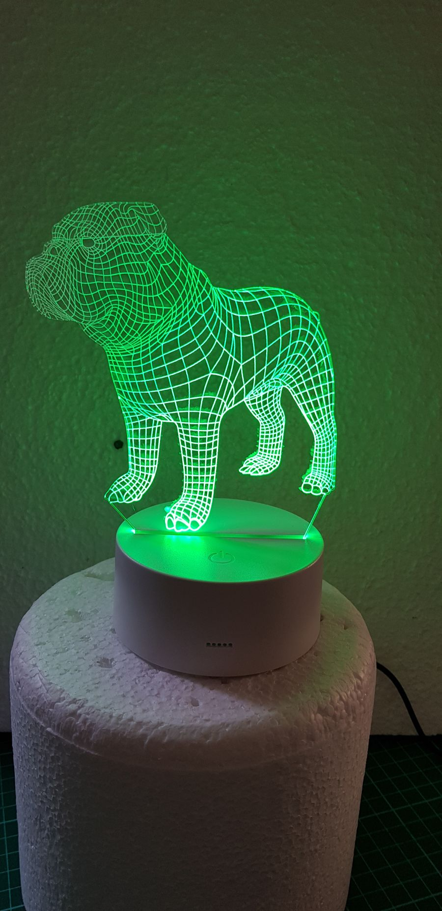Bulldog light up cake topper night light