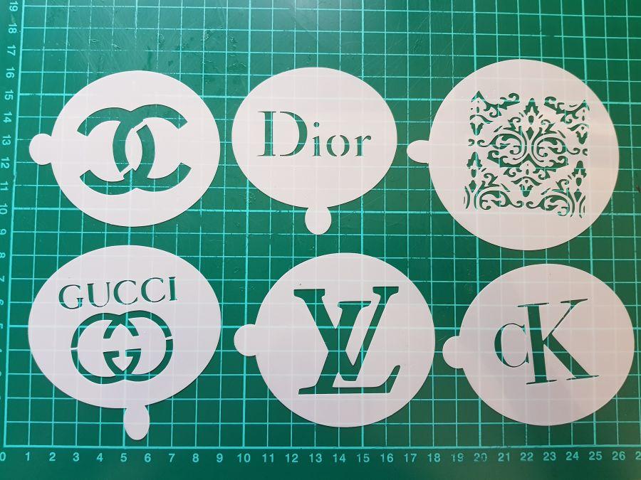 CK, Dior, LV, Ck, CC, Gucci & Lace 6 stencils cupcake decorating