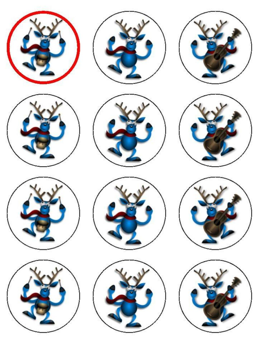 Reindeer Christmas Cupcake Toppers X 12