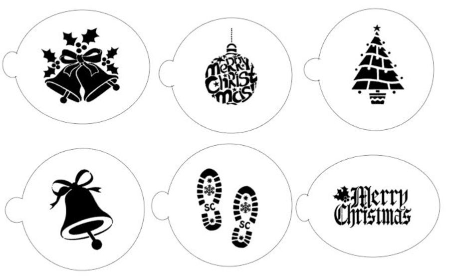 Christmas selection of stencils 6 stencils cupcake decorating