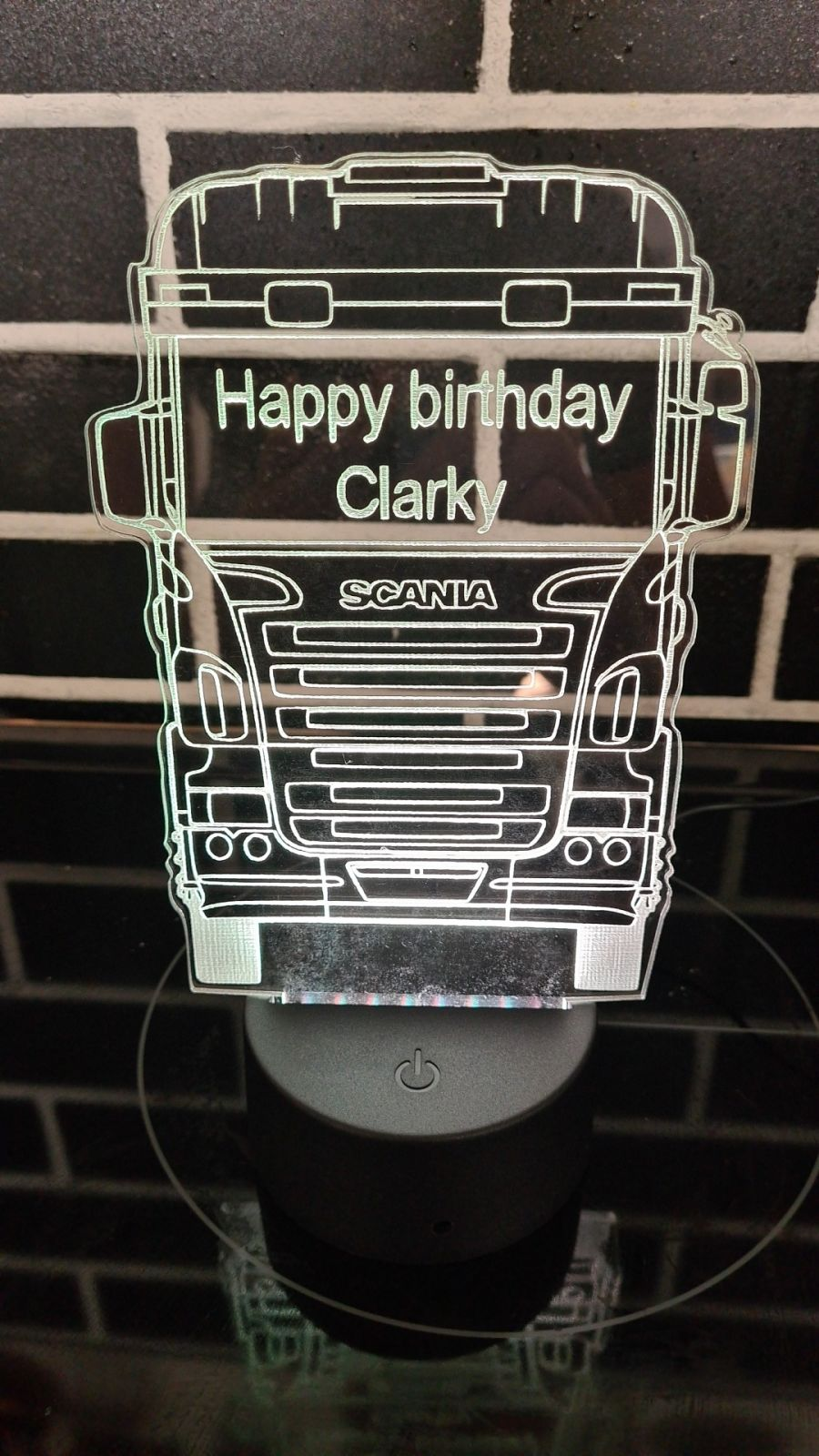 scania truck with wording light up cake topper night light
