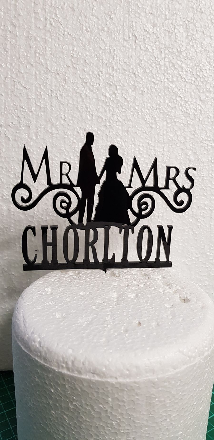 Mr & Mrs swirly wedding with name at side acrylic cake topper