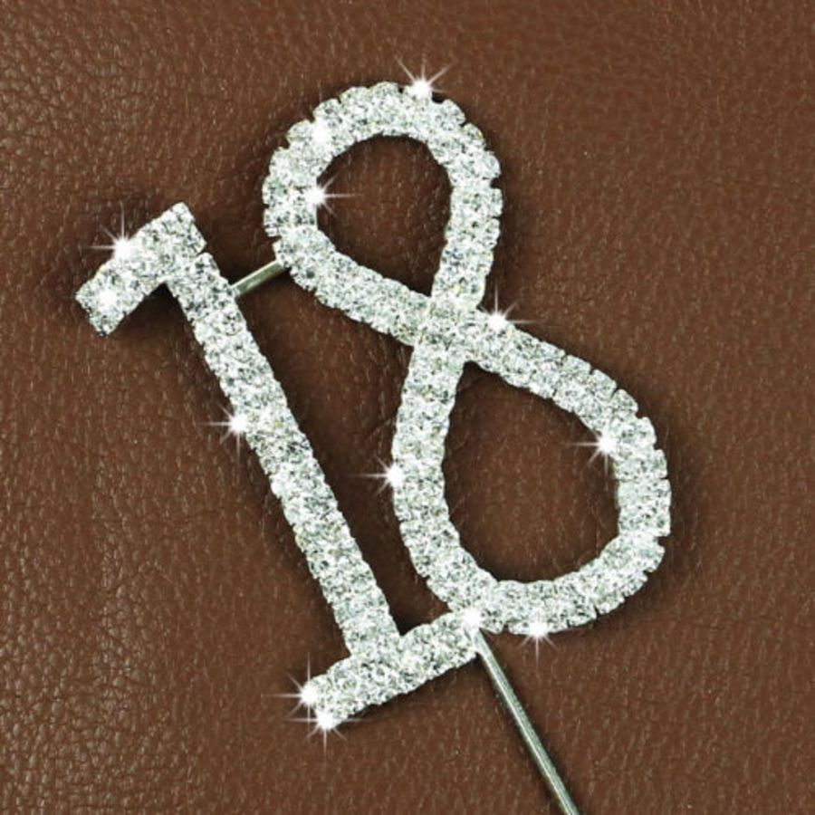 Rhinestone Diamante Crystal Birthday Cake Topper 18