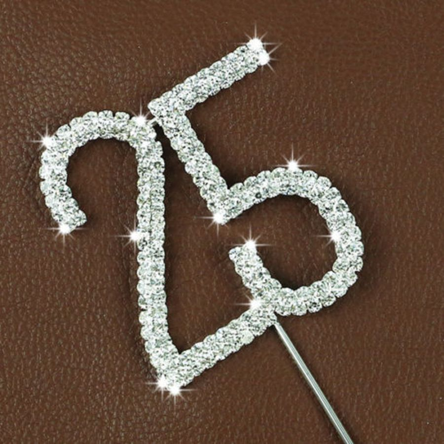 Rhinestone Diamante Crystal Birthday Cake Topper 25