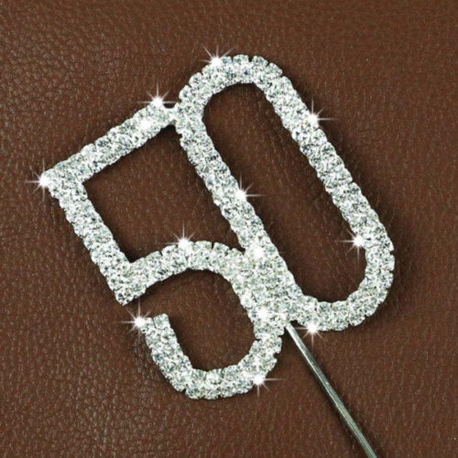 Rhinestone Diamante Crystal Birthday Cake Topper 50
