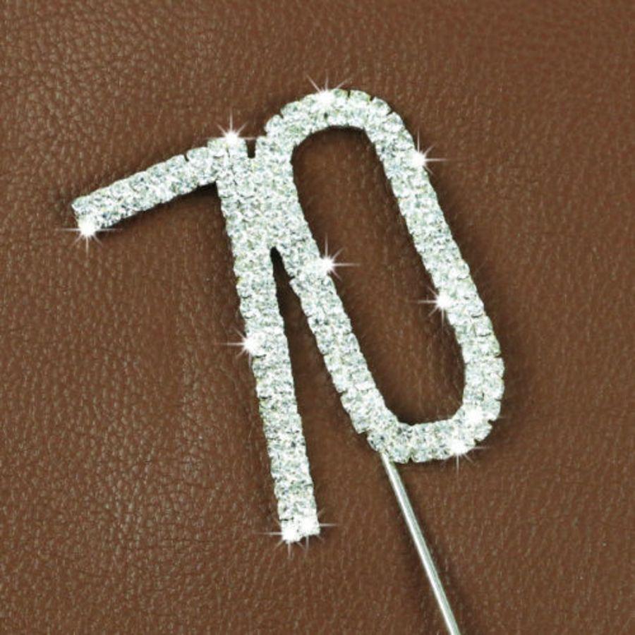 Rhinestone Diamante Crystal Birthday Cake Topper 70