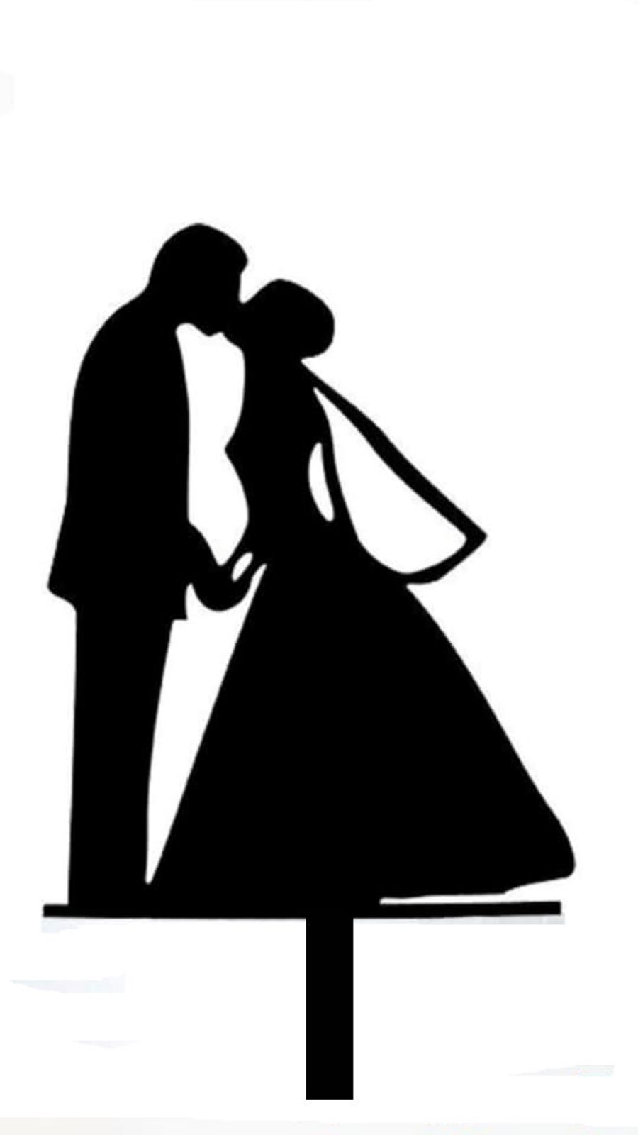 Kissing groom and bride silhouette Acrylic topper