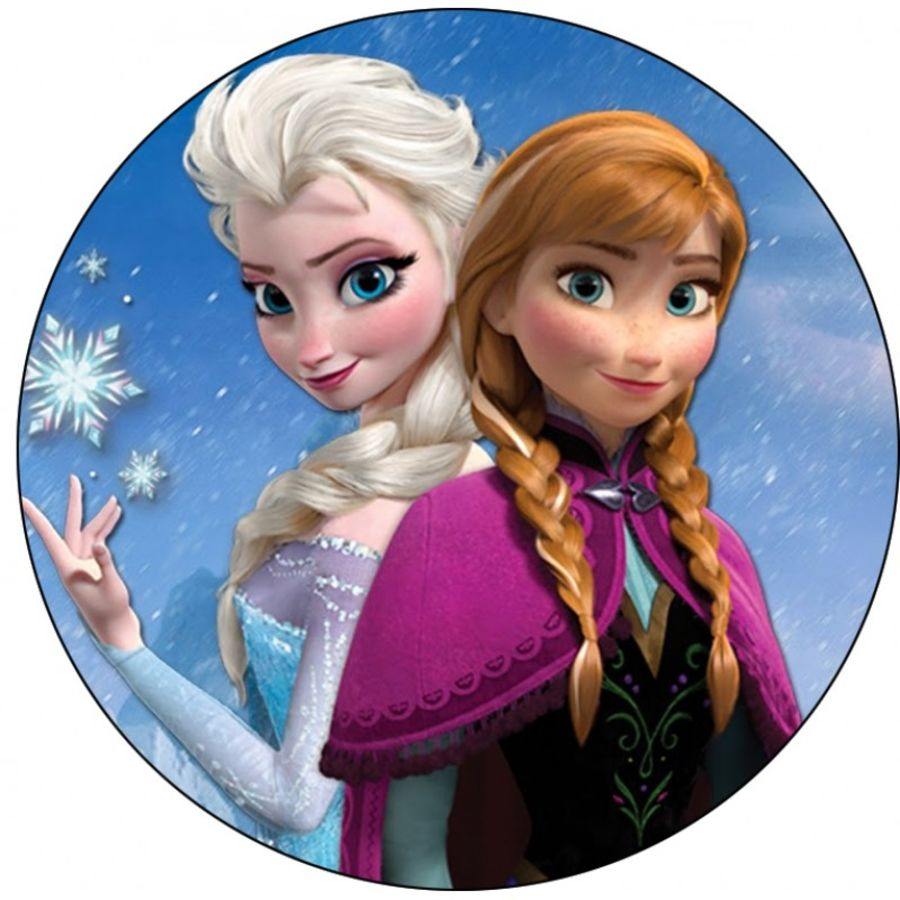 Elsa and Anna from frozen film icing sheet or sugar sheet cake topper