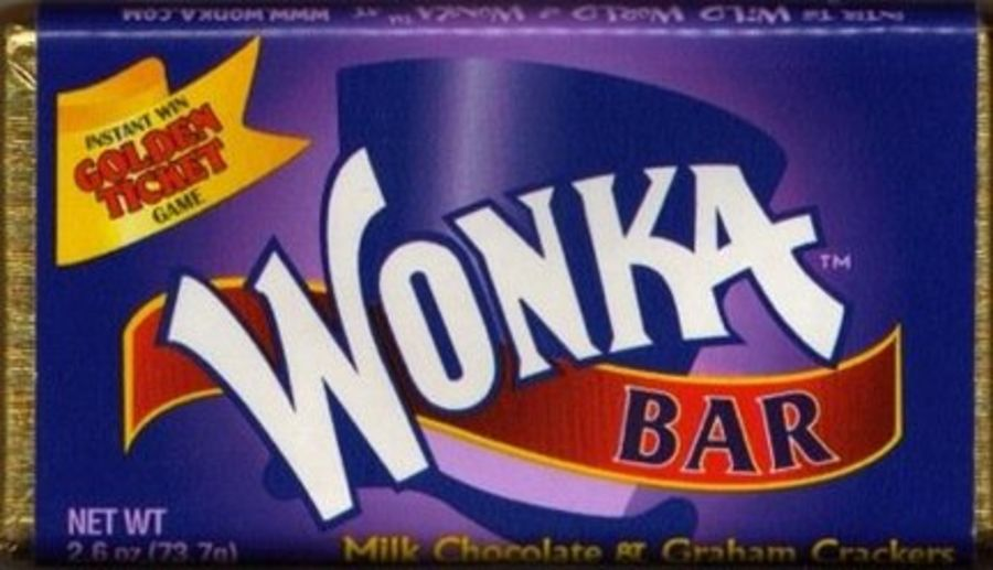 wonkas chocolate bar the purple one topper icing or wafer sheet