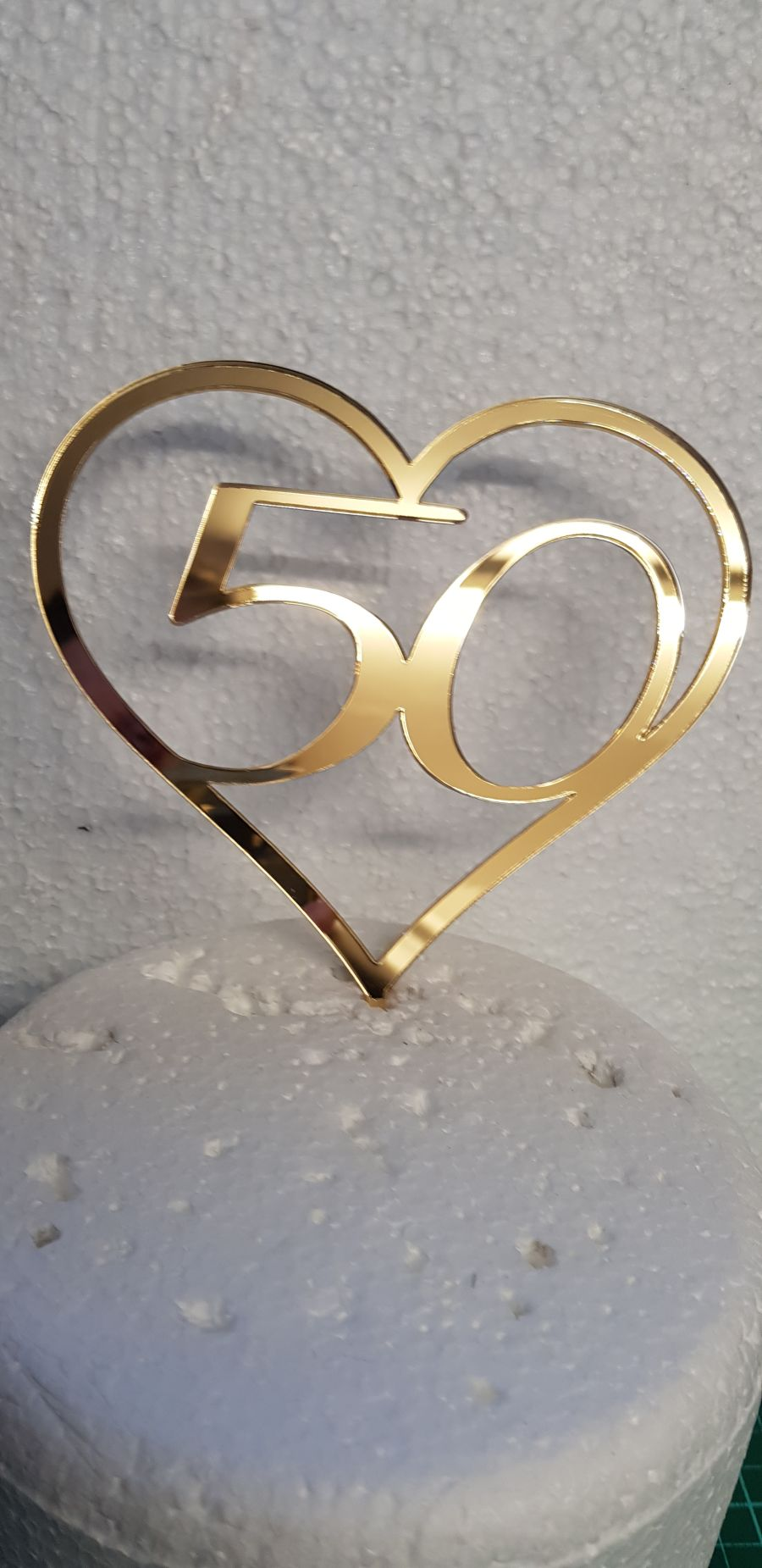 Love heart with any age inside acrylic cake topper
