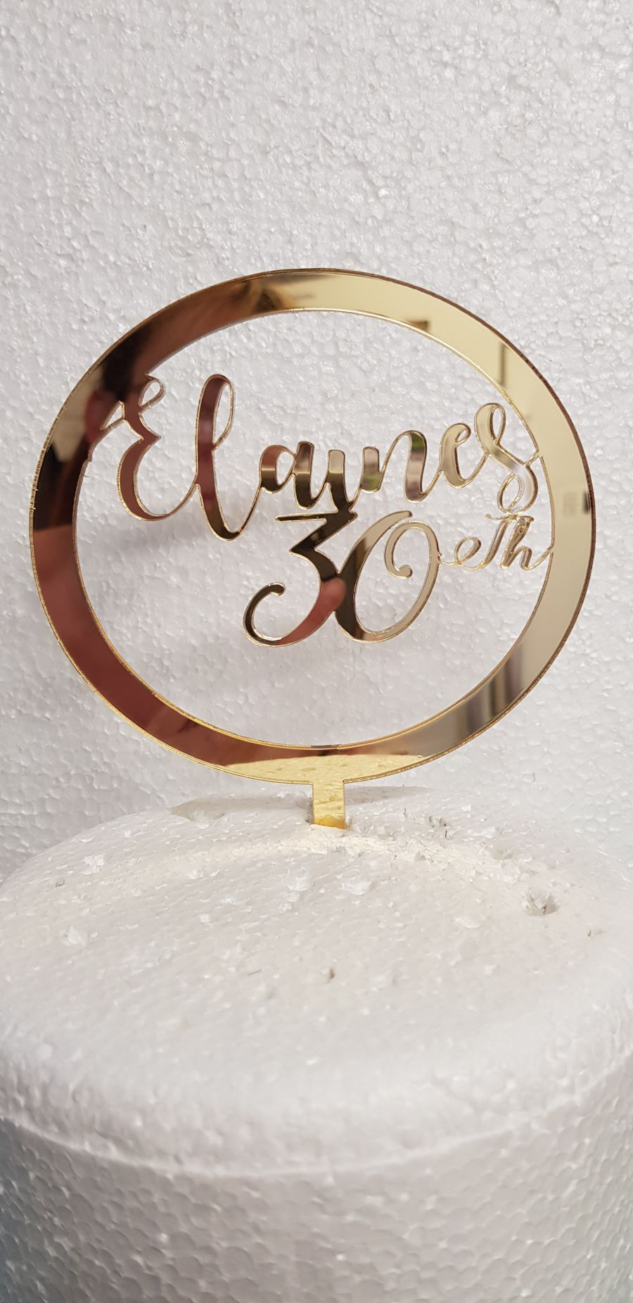 Cercle with name and age inside acrylic cake topper