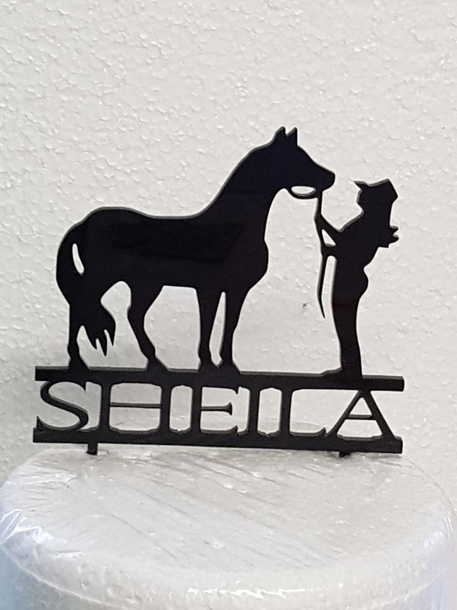 Horse with girl tending to it And name cake card topper