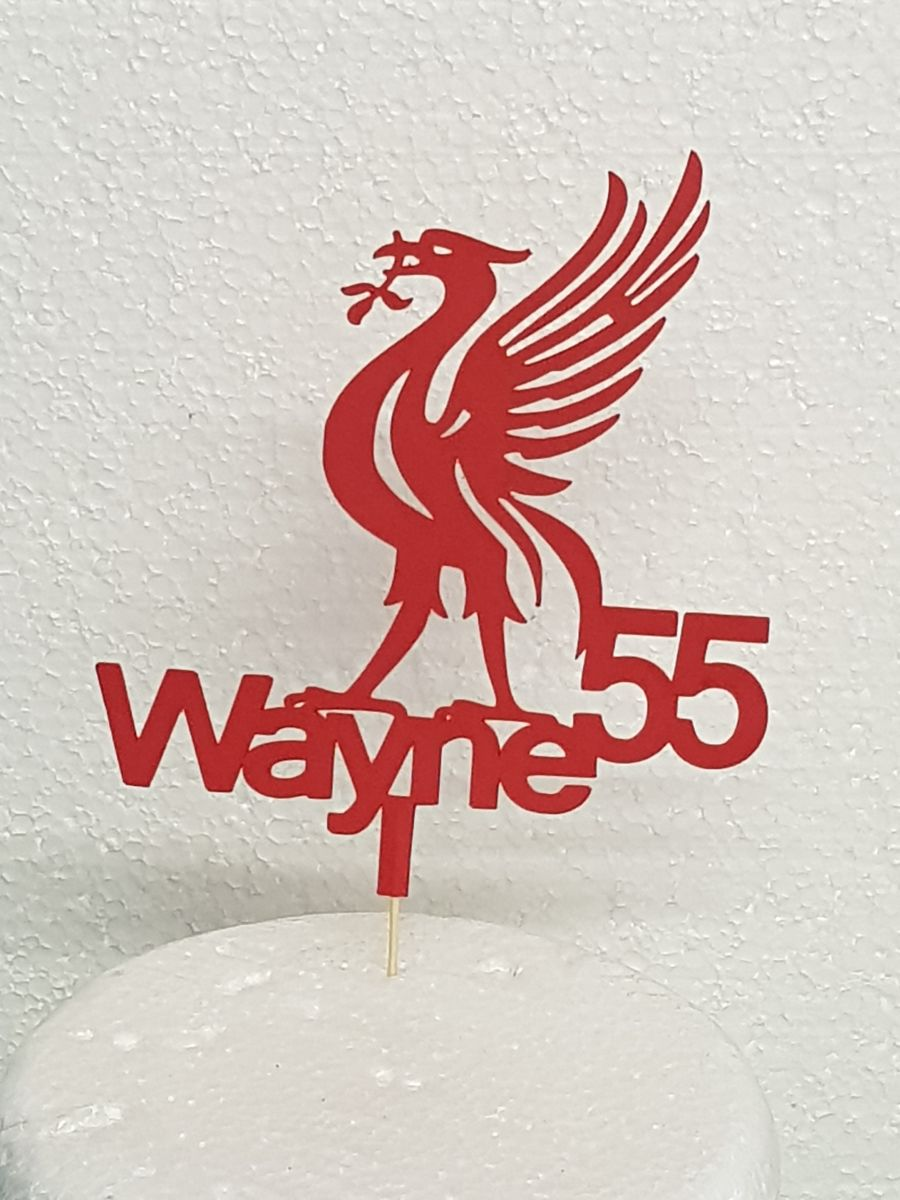 Liverpool Football cake topper with name cake card topper