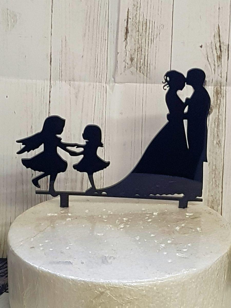 Mr & Mrs with 2 girls 1 girl in spirit acrylic cake topper
