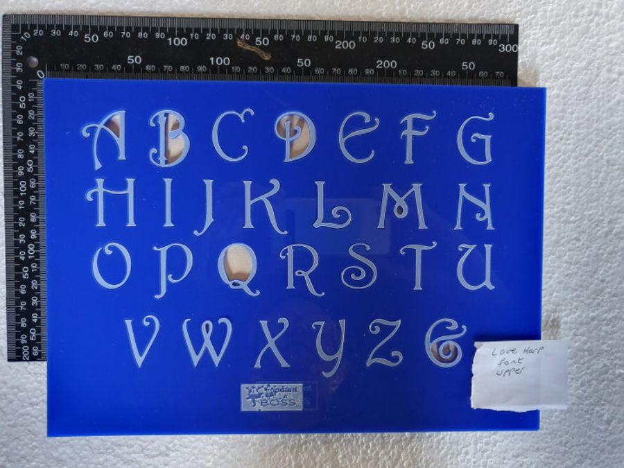 Harp love font Alphabet Stamps