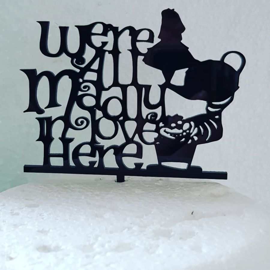 Alice in wonderland wedding topper acrylic cake topper