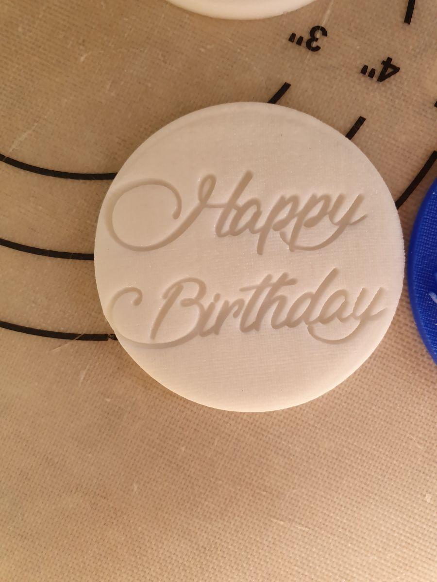 Happy Birthday signature acrylic stamp for fondant