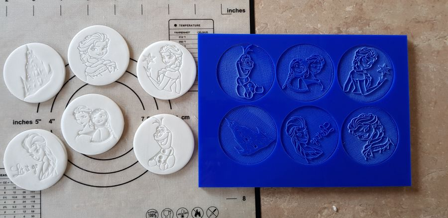 2 inch round stamps, Frozen stamp into fondant by the boss