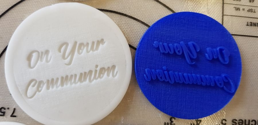 On your communion acrylic stamp for fondant