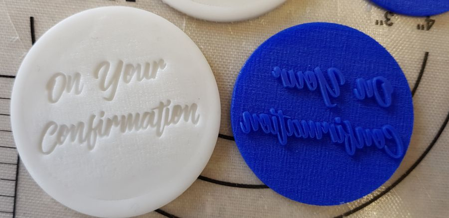 On your confirmation acrylic stamp for fondant