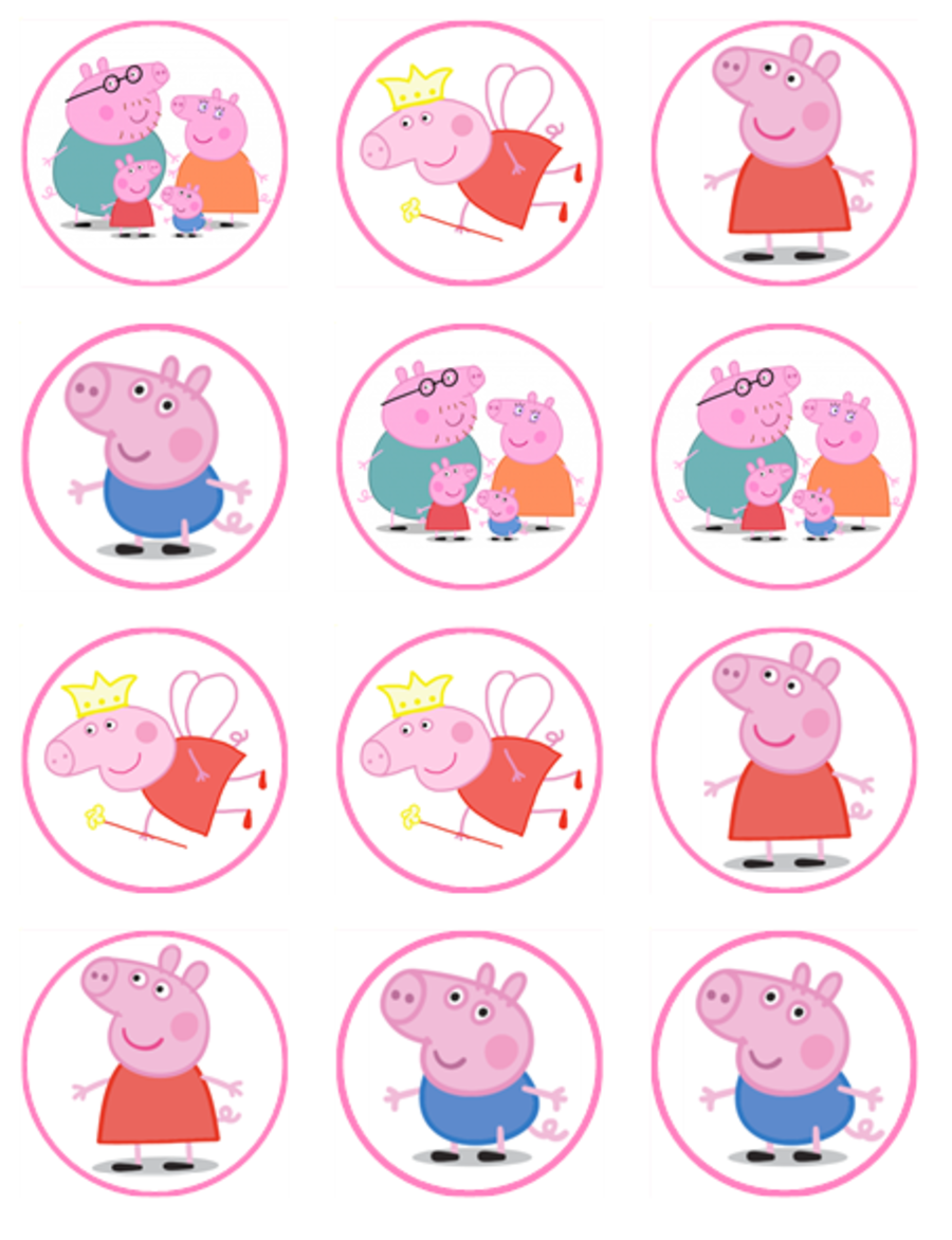 peppa pig Cupcake Toppers X 12