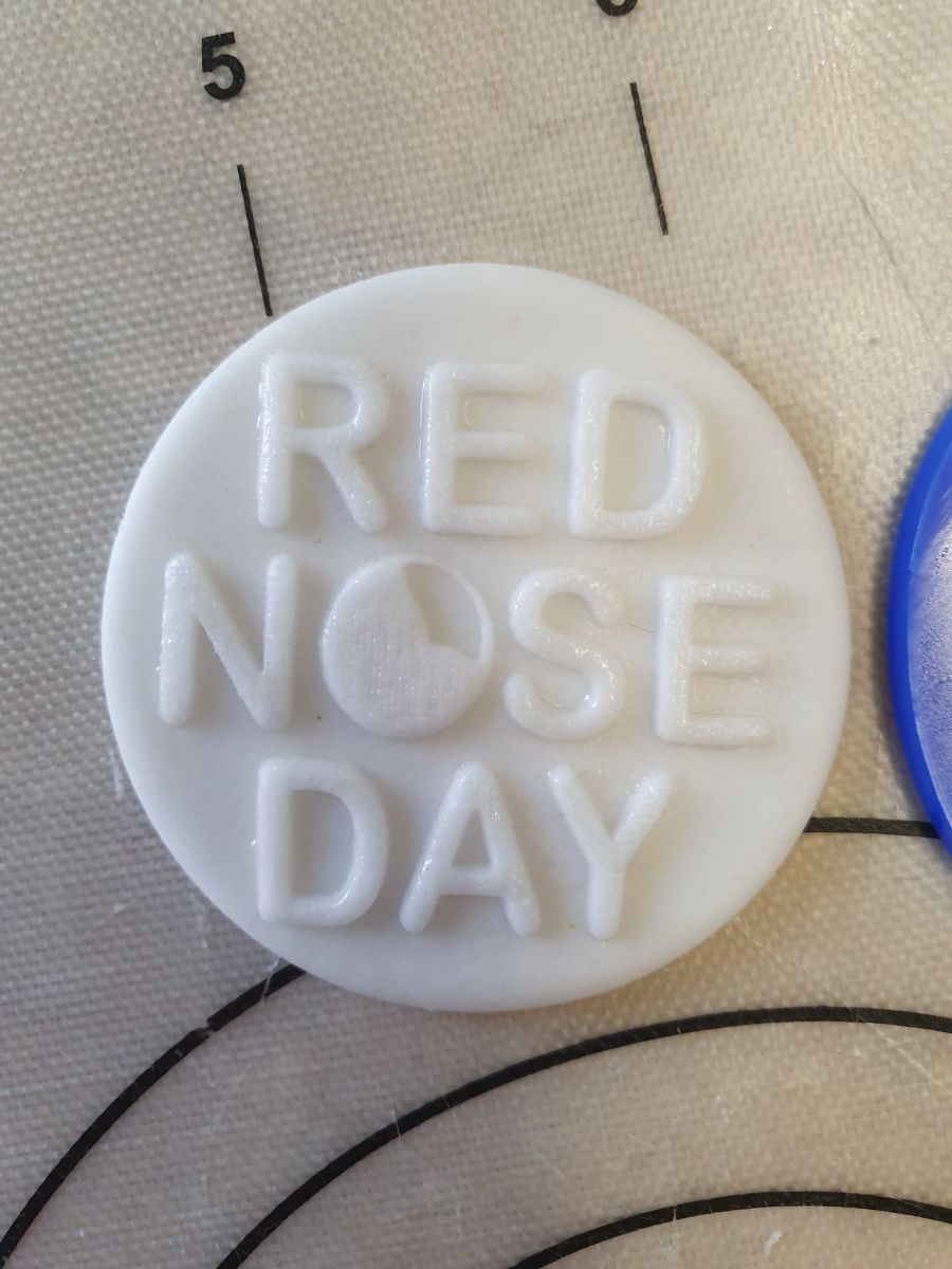 Red nose day acrylic stamp for fondant