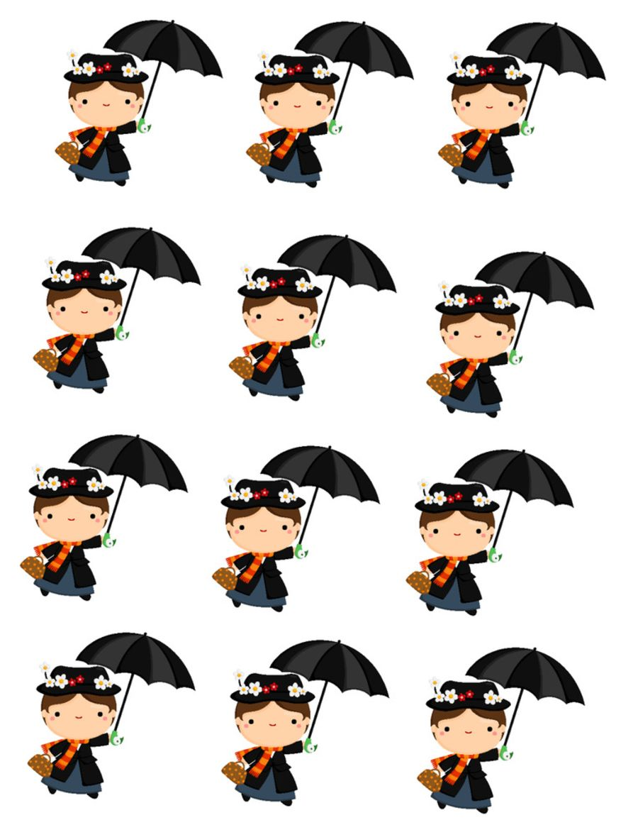 Mary poppins Cupcake Toppers X 12