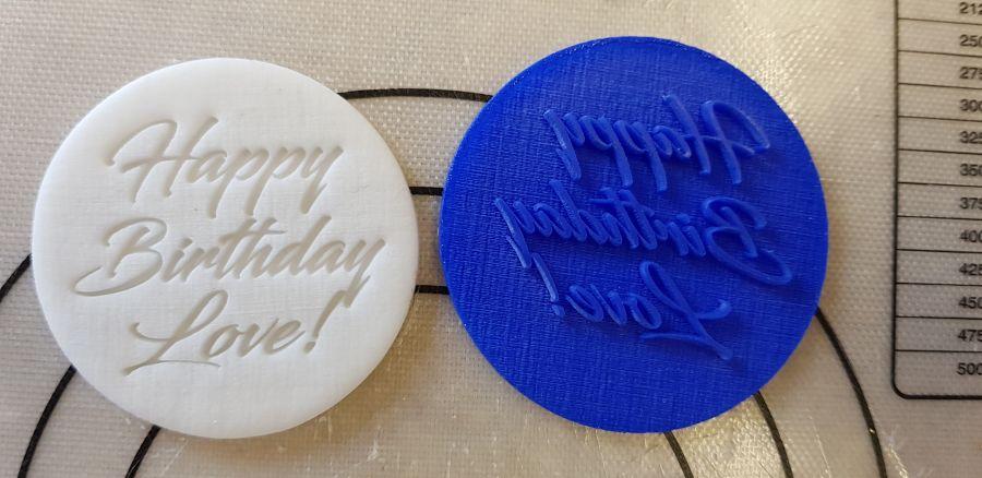 Happy Birthday Love acrylic stamp for fondant