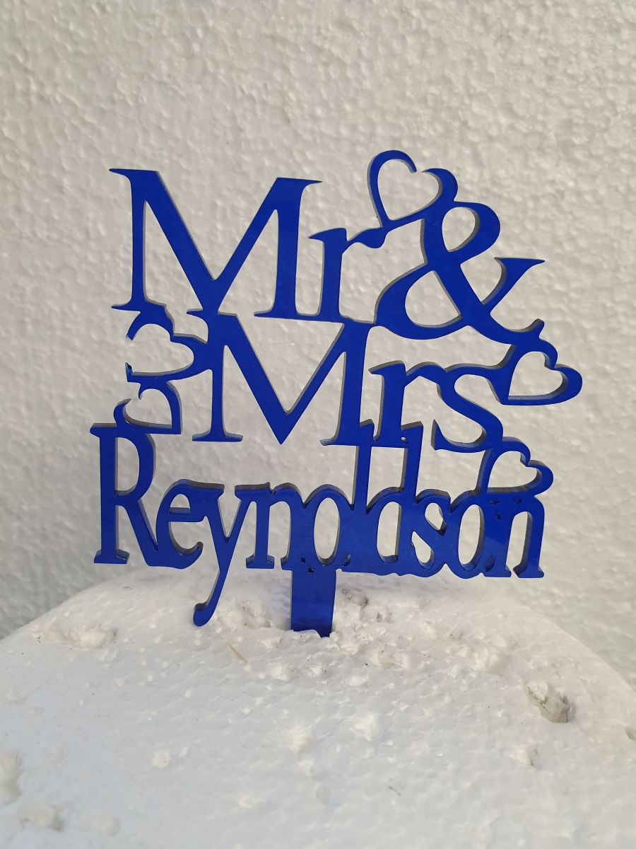 Mr & Mrs with hearts and name acrylic cake topper