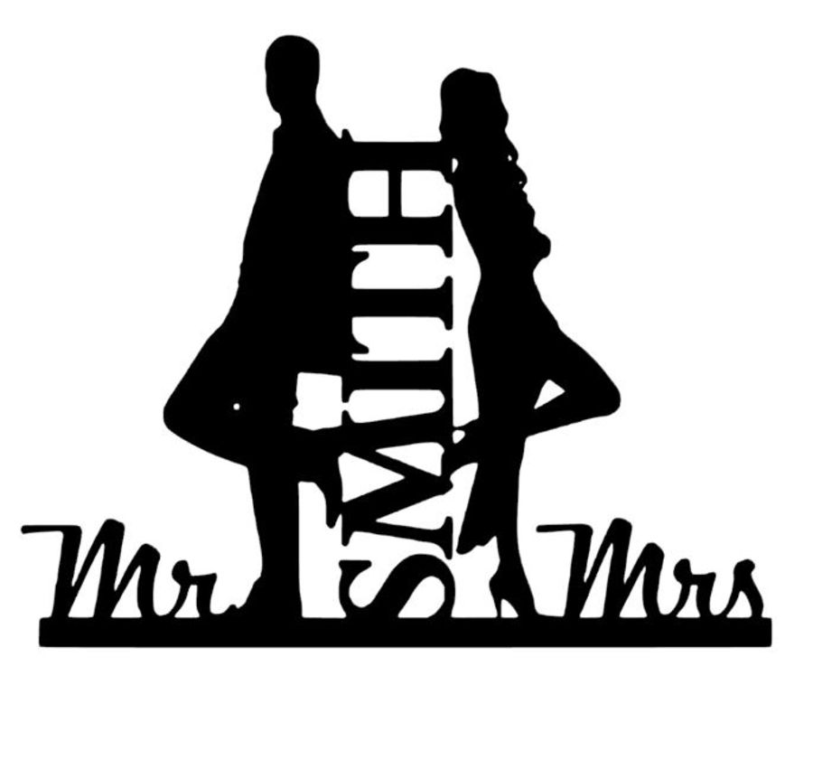 Mr & Mrs Smith film cake card topper