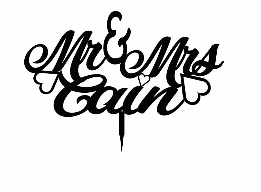 Hearts Mr & Mrs swirly wedding & name acrylic cake topper