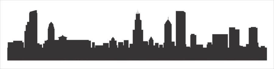 Chicago City Skyline Buildings stencil