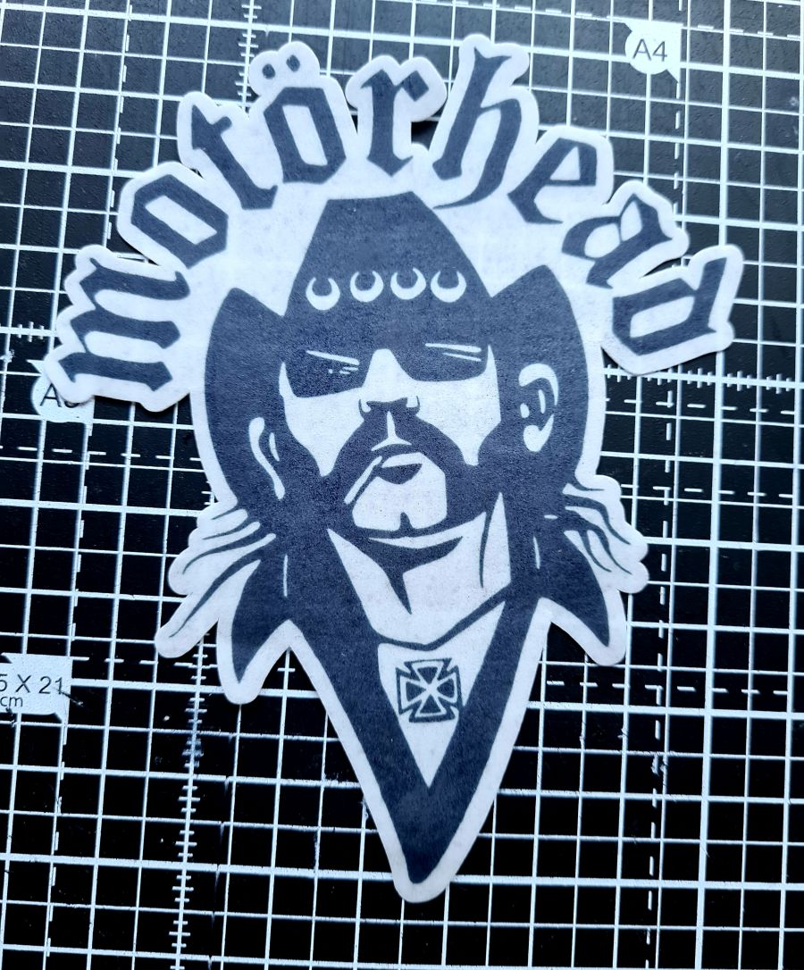 Motorhead and wording head Cake topper icing or wafer sheet