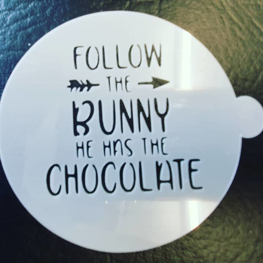 Follow the bunny 2 inch and up stencil