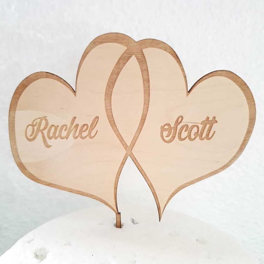 Love Hearts with names Wood cake topper