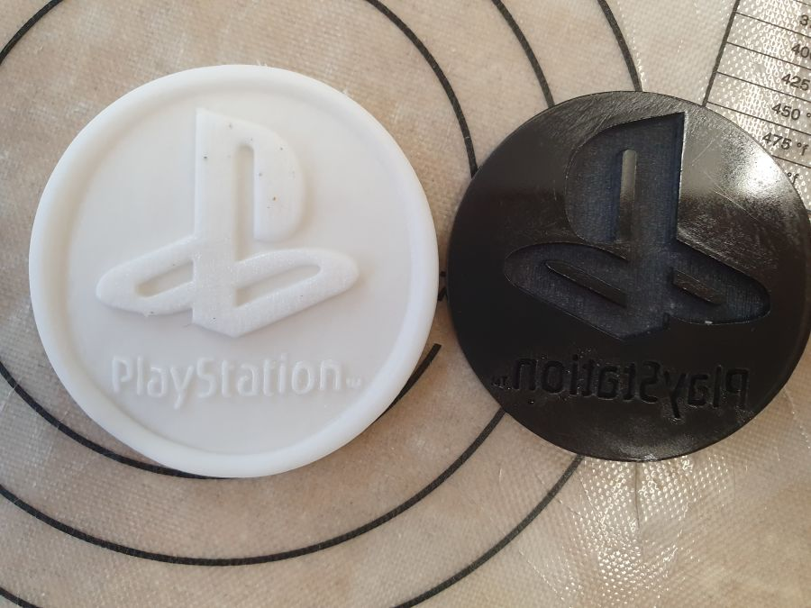 Playstation logo 2 inch acrylic stamp for fondant