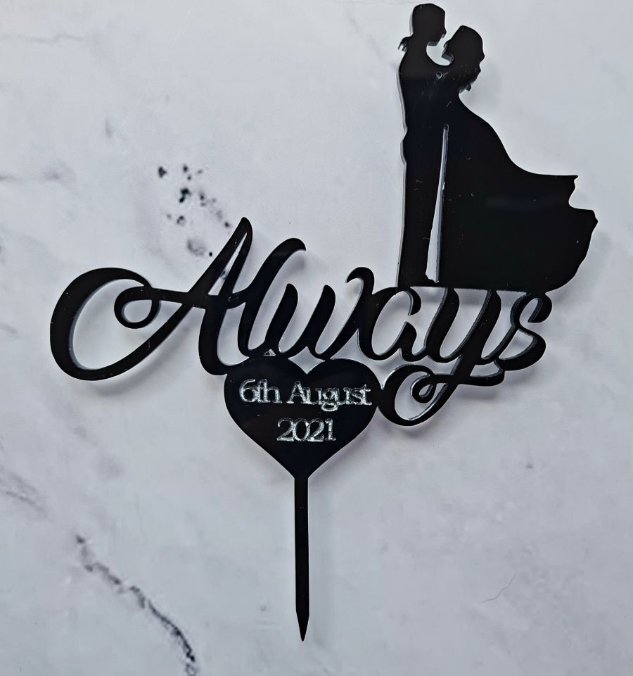 Always with heart and couple + date acrylic cake topper