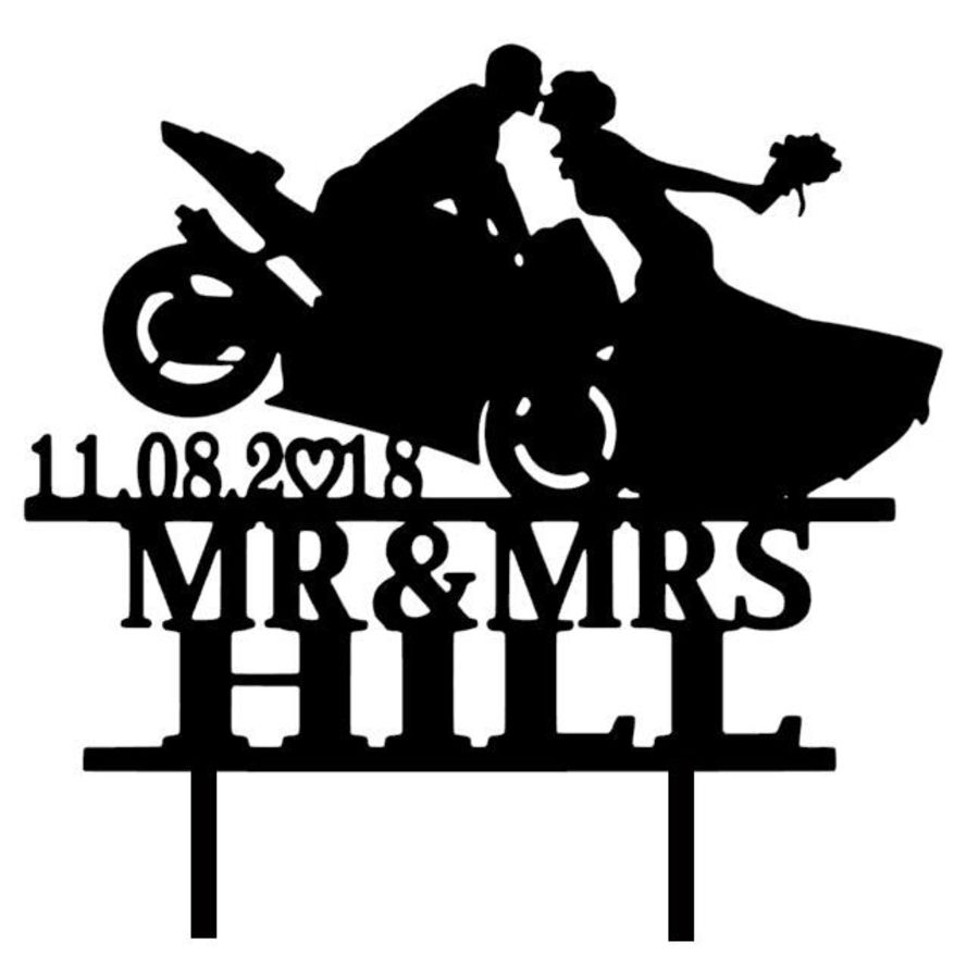 Mr & Mrs bike name and date acrylic cake topper