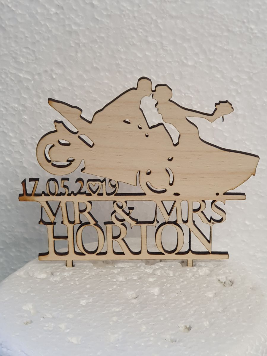 Biker couple with names and date Wood cake topper