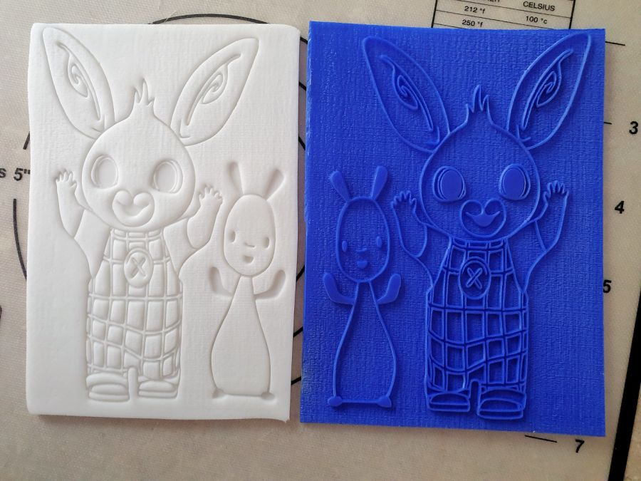 Bing and Flop acrylic stamp into fondant up to 5 inch