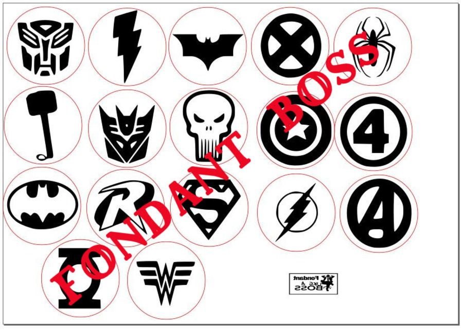 The Avengers acrylic stamp set or singles into fondant