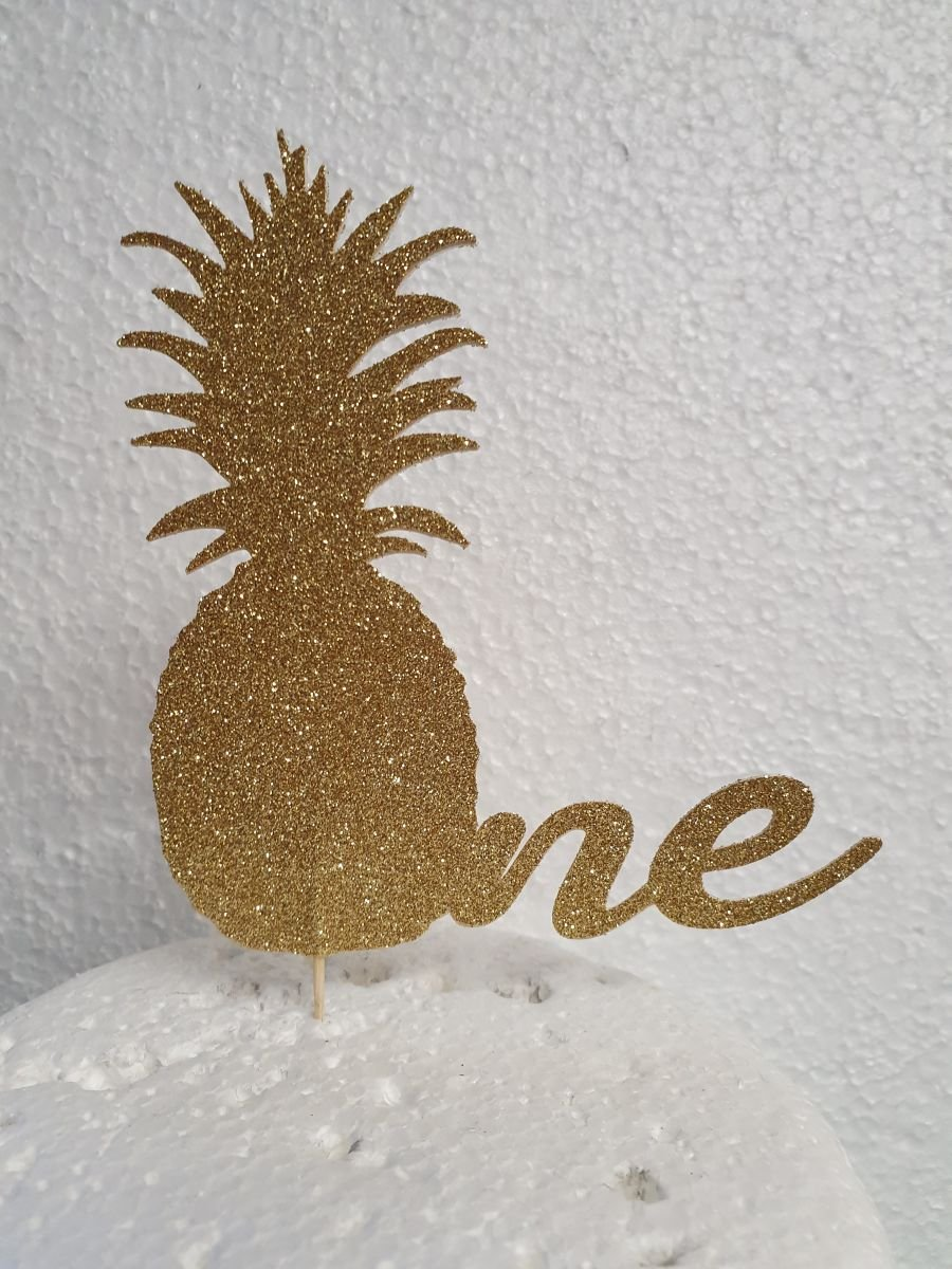 Pineapple number one card topper double sided card