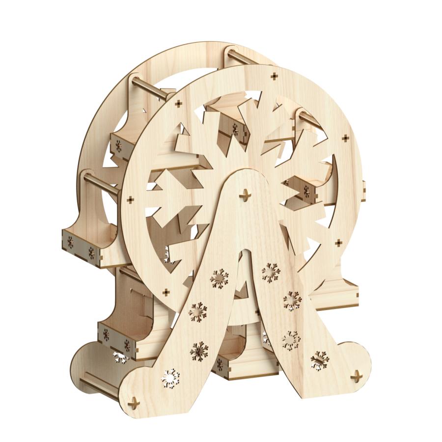 Large Ferris wheel cupcake stand snowflake, Pattern