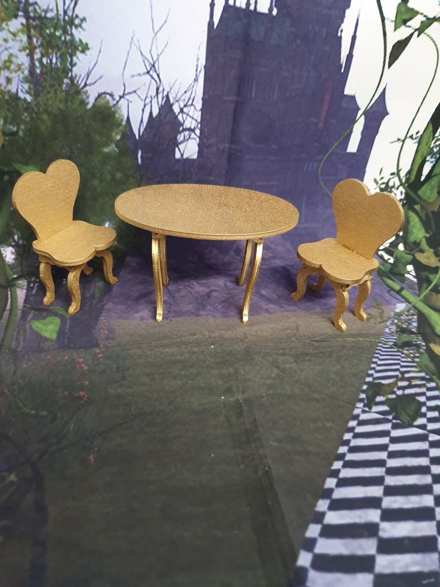 Dolls house table and chairs, any color
