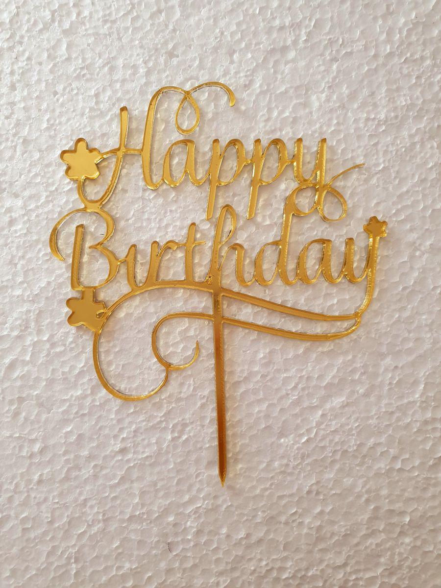 Happy Birthday swish Acrylic topper any color