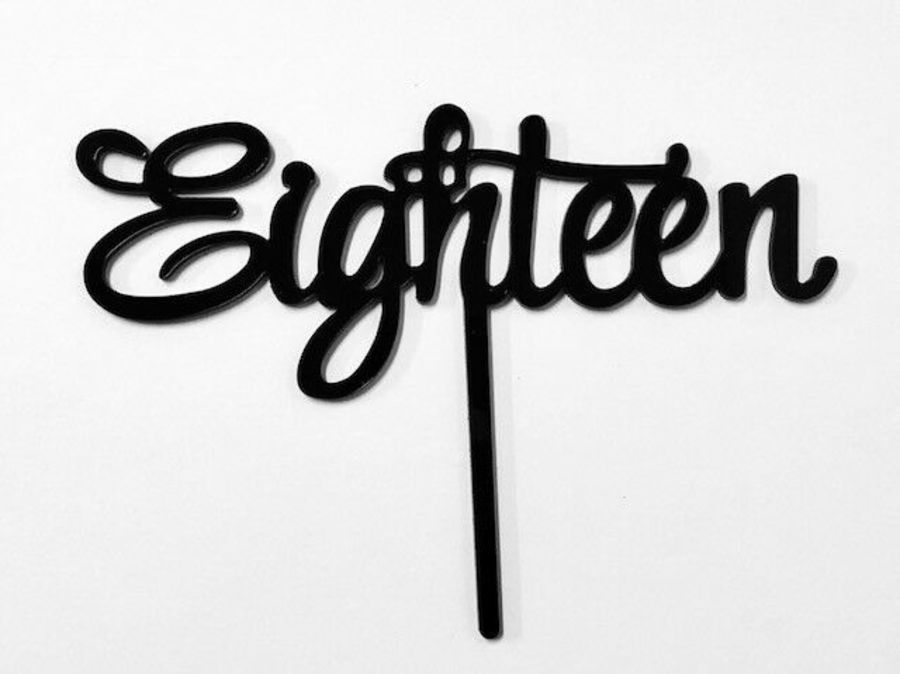 Eighteen script swirl Acrylic topper