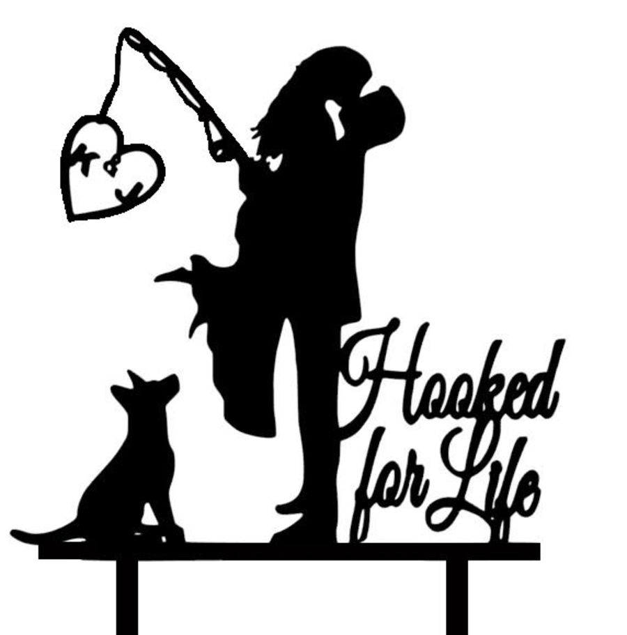 Mr & Mrs fishing with initials Hooked for life acrylic cake topper
