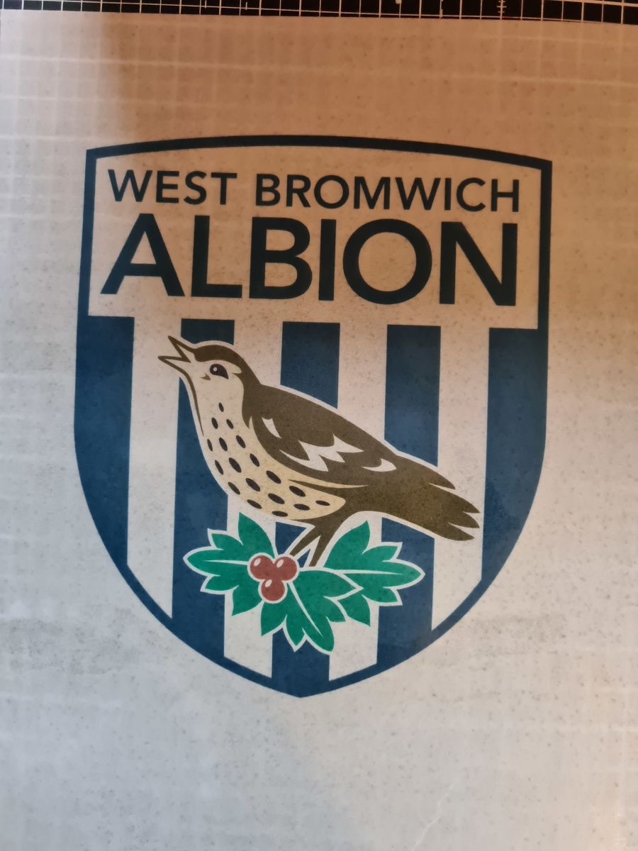 West Bromwich Albion football badge icing sheet or sugar sheet