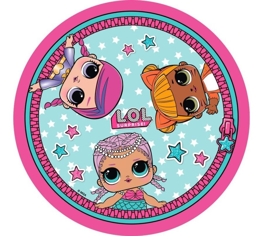 lol dolls round cake topper icing sheet or sugar sheet